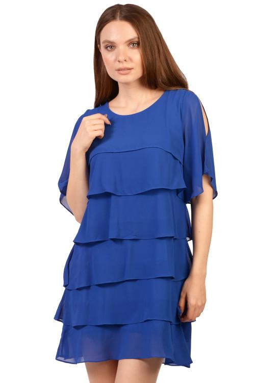 Rochie de seara albastra cu volane 8361 AR