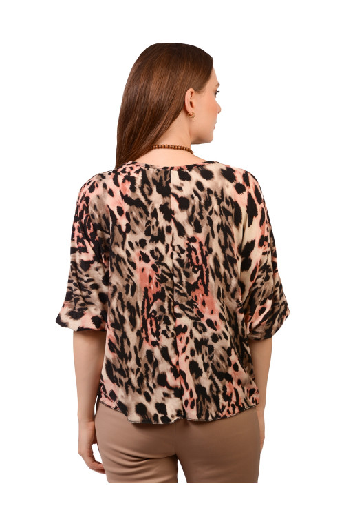 Bluza roz animal print 9044 R