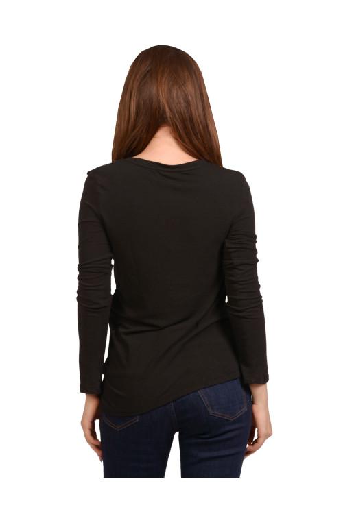 Tricou negru cu maneca lunga 55370 NG