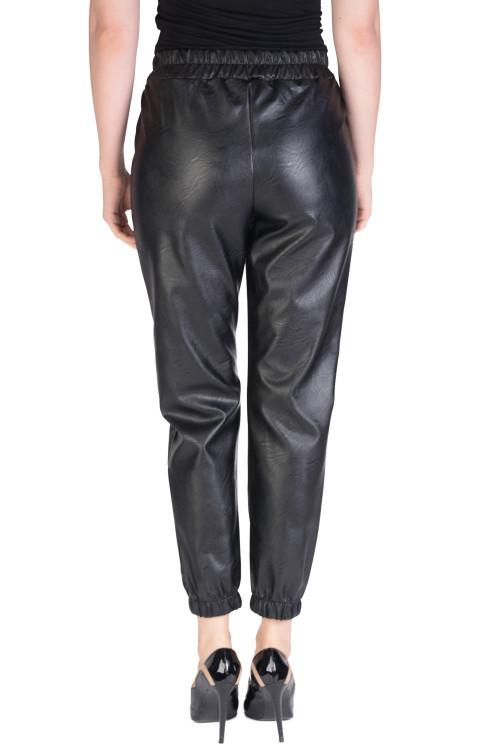 Pantaloni negri jogger din piele eco 419C NG