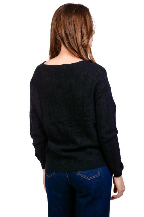 Pulover dama negru cu torsade mici 9238 NG