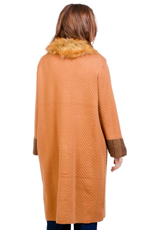 Palton dama camel tricotat KY110 C