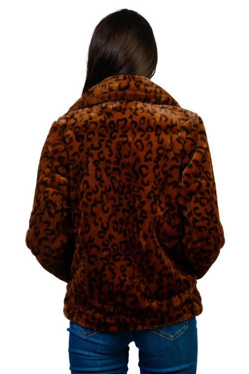 Jacheta dama camel cu imprimeu leopard AT8275 C