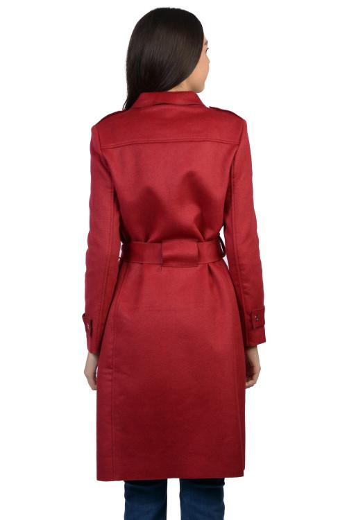Palton elegant rosu din stofa AT8237 R