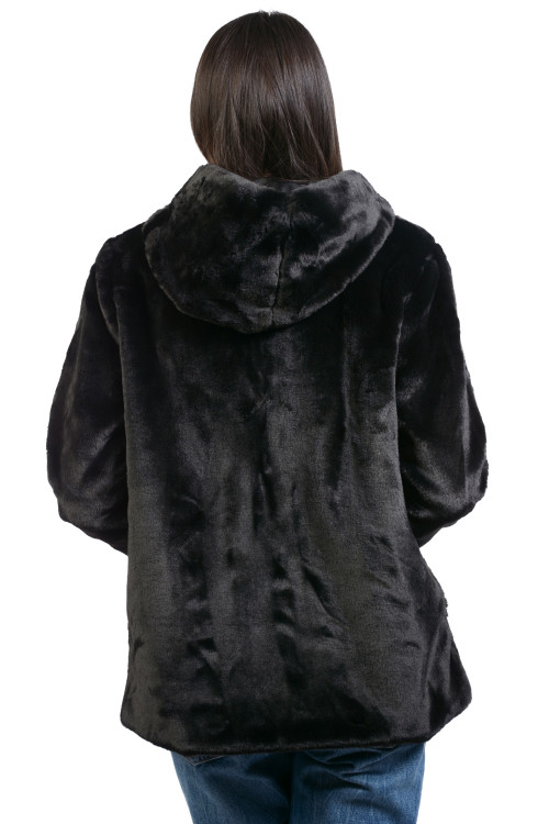 Jacheta dama neagra din blana ecologica Y151 NG