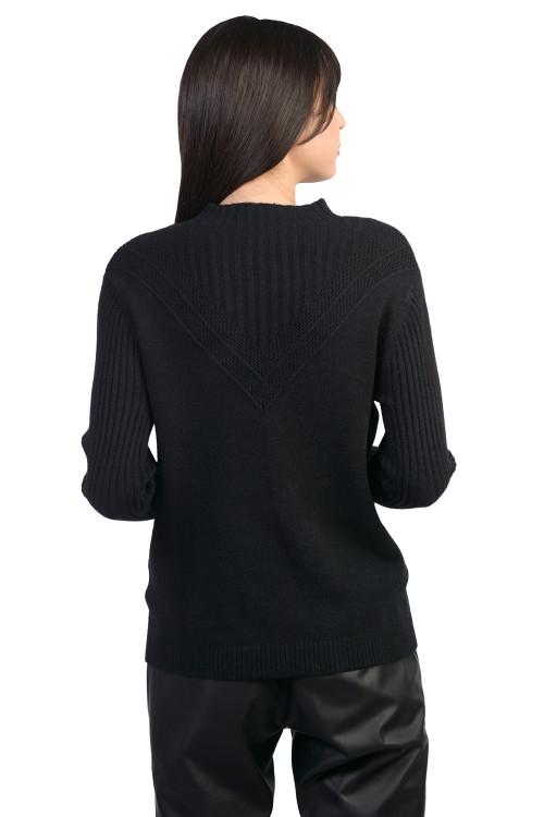 Pulover dama negru cu maneca striata B232 NG
