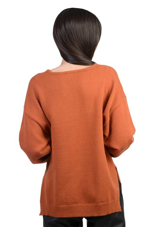 Pulover dama caramiziu uni 6031-4 C