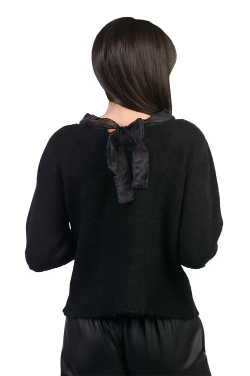 Pulover dama negru cu funda JP3609 NG