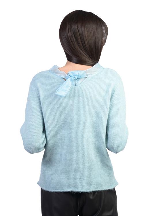 Pulover dama bleu cu funda JP3609 BL