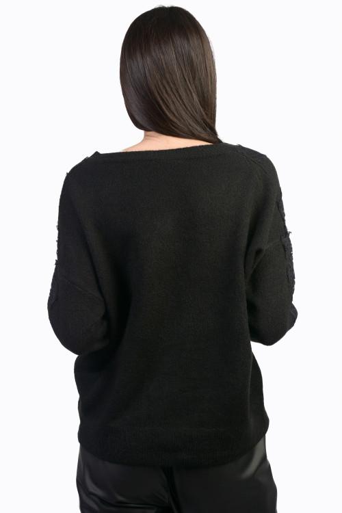 Pulover dama negru cu dantela JP3353 N