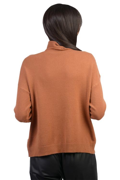 Pulover dama camel cu guler rulat B231 C