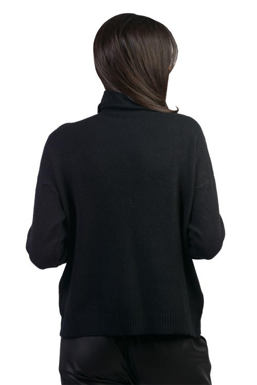 Pulover dama negru cu guler rulat B231 NG
