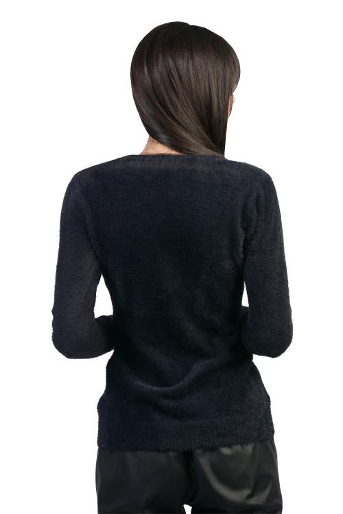 Pulover dama negru pufos W2021 NG