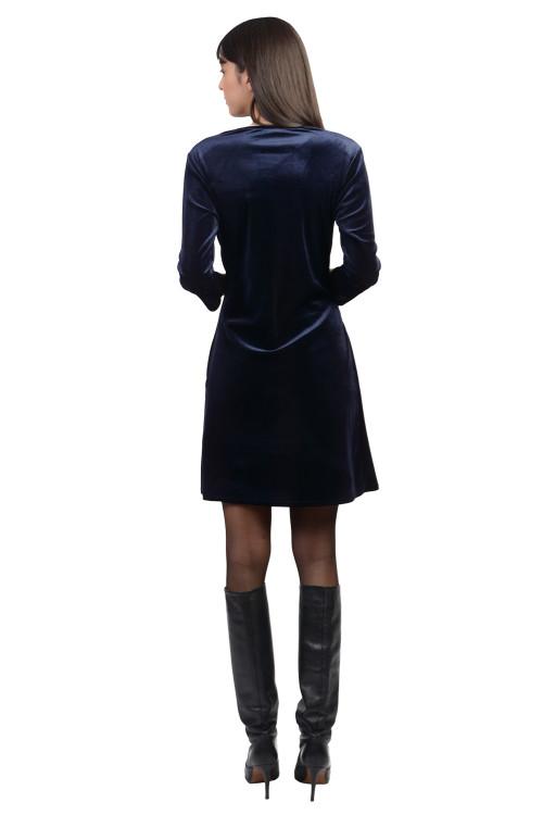 Rochie bleumarin drapata 2060 BM