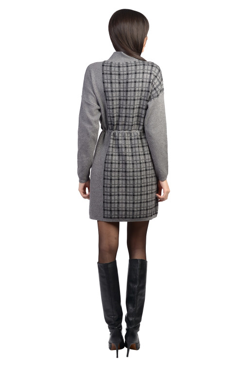 Rochie gri cadrilata tip pulover  XX613 G