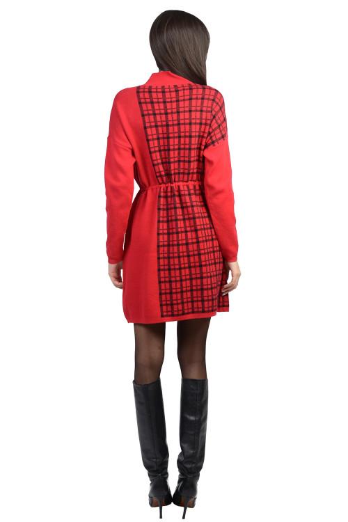 Rochie rosie cadrilata tip pulover XX613 R