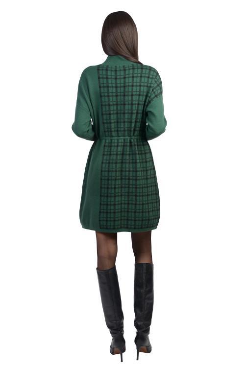 Rochie verde cadrilata tip pulover XX613 V
