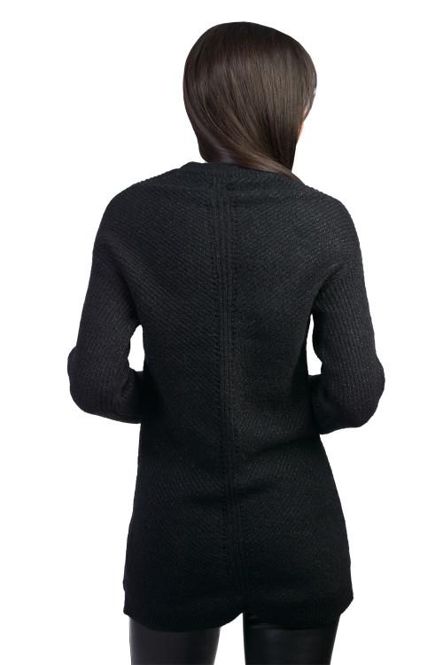 Pulover dama negru cu fir metalic JP3253 N
