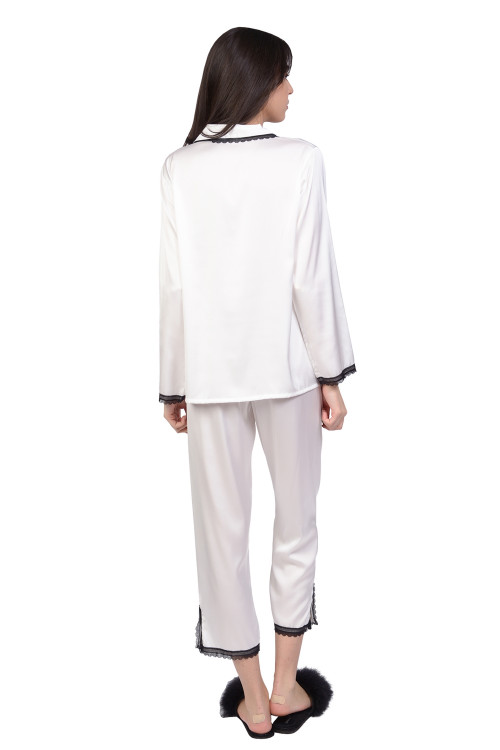 Pijama dama alba cu dantela neagra 726 A