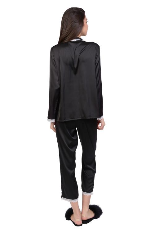Pijama negra cu dantela alba 726 NG