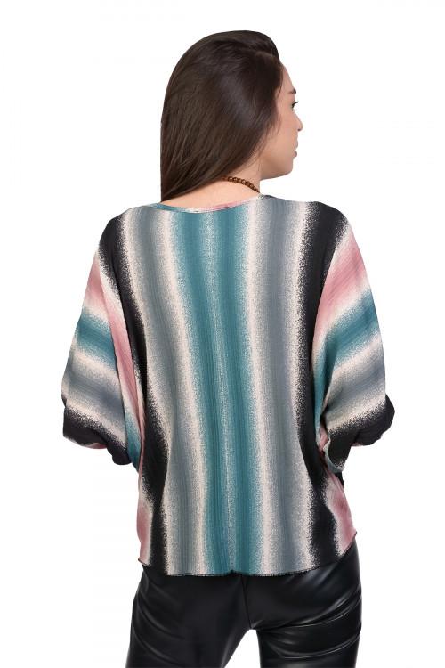 Bluza eleganta cu dungi multicolore 9044-1 BL