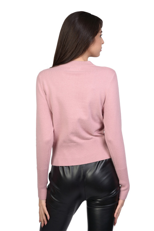 Pulover roz cu nasturi metalici 55288 R