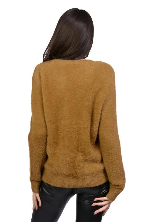 Jacheta dama tricotata camel 51242 C