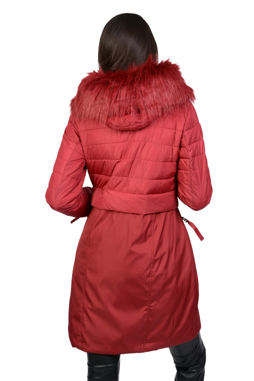 Jacheta lunga rosu cu gluga AT8189 R