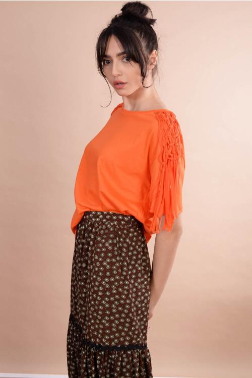 Tricou dama cu franjuri impletite 37312 Orange
