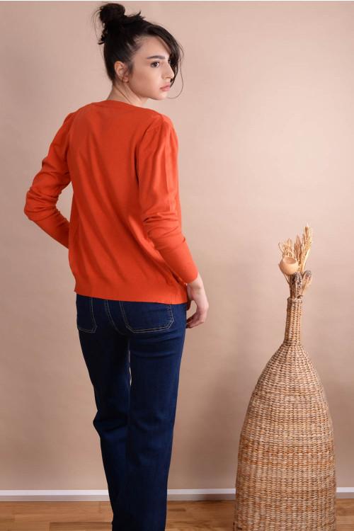 Pulover dama cu nasturi 6003 Orange