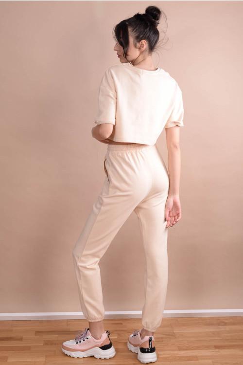 Pantaloni de trening dama cu snur 57613 Bej