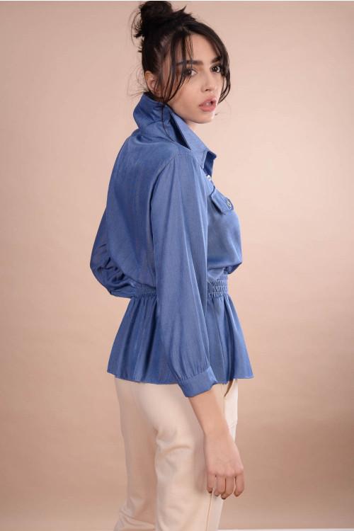 Bluza din tencel tip camasa 20102 Bleu