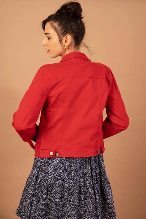 Jacheta casual din denim M5521 Rosu