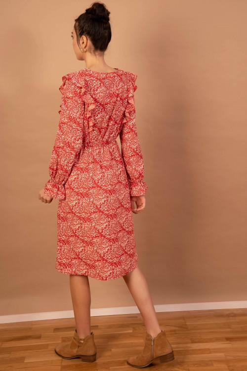 Rochie rosie cu volane laterale 8610 R
