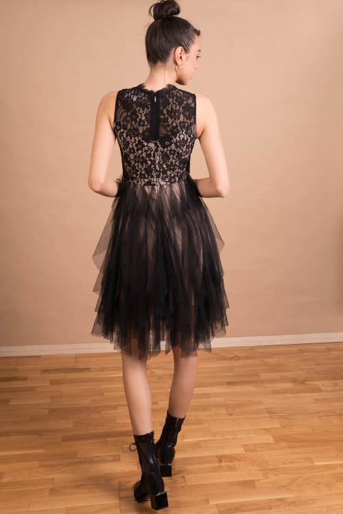 Rochie de seara neagra cu volane 92076 NG