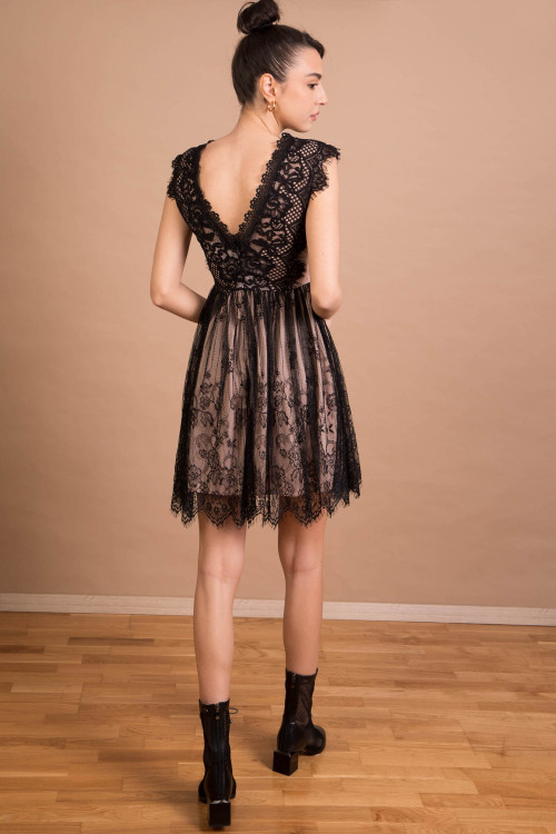 Rochie de seara neagra din dantela 19525 NG