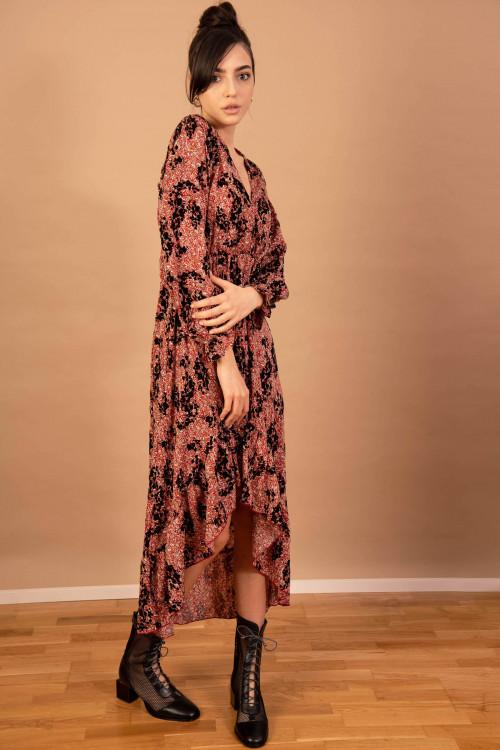 Rochie asimetrica cu print floral M5999 Rosu