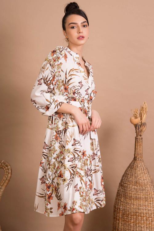 Rochie tunica cu print tropical J0316 Alba