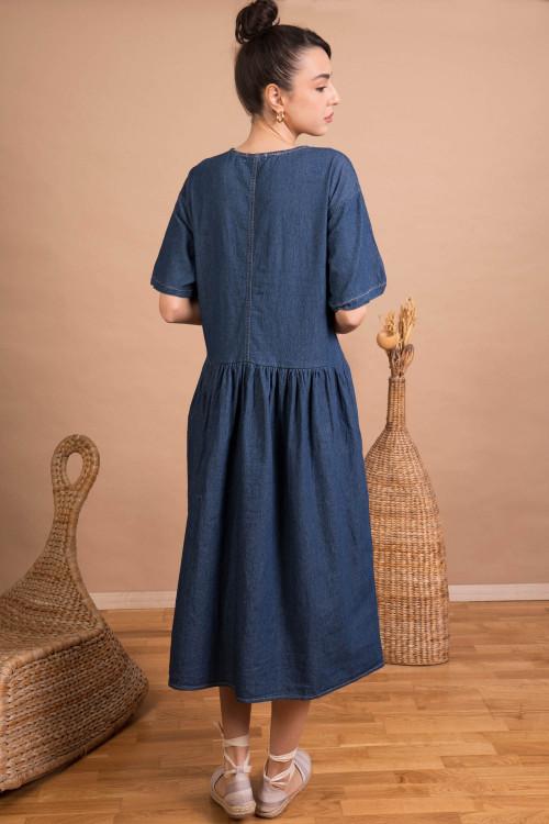 Rochie de blugi cu maneca scurta 2872 Bleumarin
