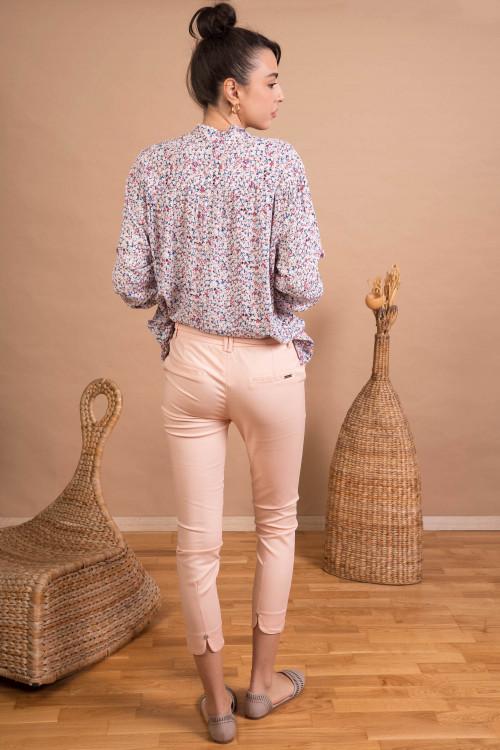 Pantaloni skinny din bumbac H8881 Roz