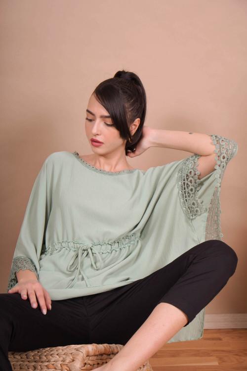 Bluza cu snur ajustabil 2816 Verde