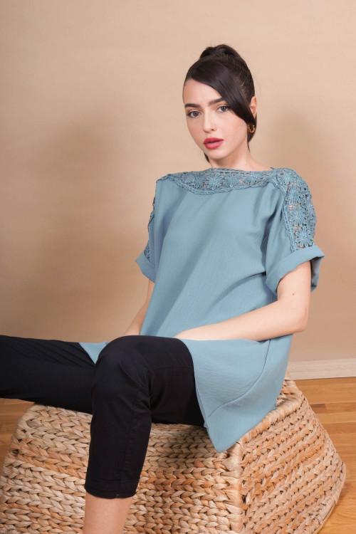 Bluza asimetrica cu broderie 2803 Verde