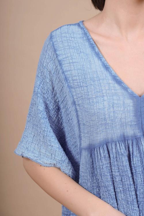 Rochie cu aspect sifonat 8715 Bleu