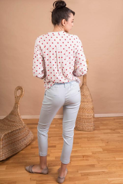 Pantaloni dama cu talie elastica L013 Bleu