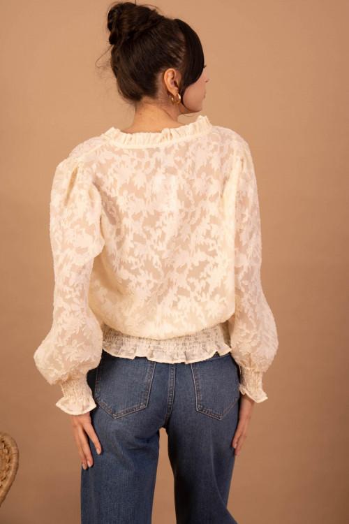 Bluza eleganta bej cu decolteu 8713 B