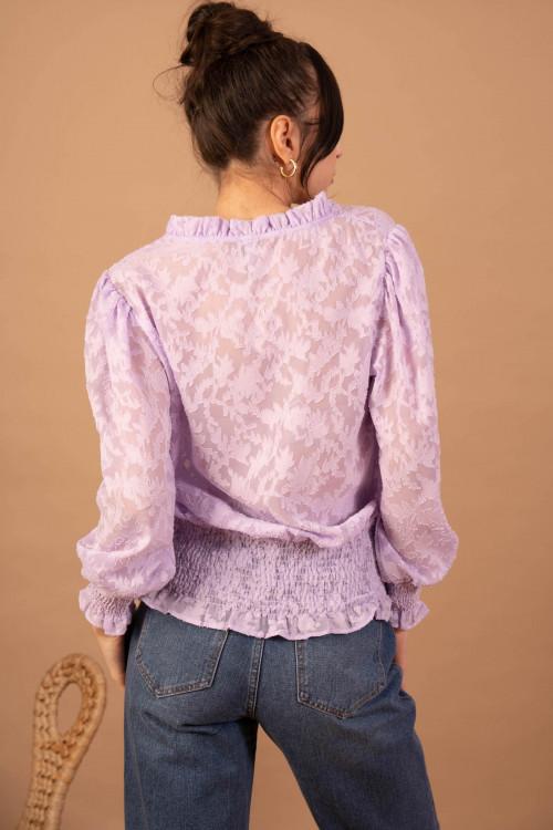 Bluza eleganta lila cu decolteu 8713 LILA