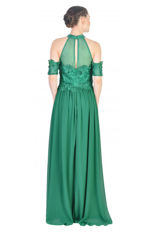 Rochie de ocazie verde cu broderie florala 2308 V