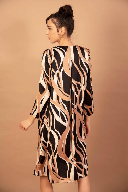 Rochie cu forme geometrice 8125-2 Neagra