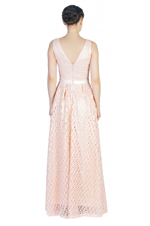 Rochie de ocazie roz din dantela florala W1147-2 R