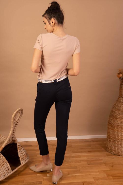 Pantaloni dama cu esarfa in talie bleumarin  L005 BM